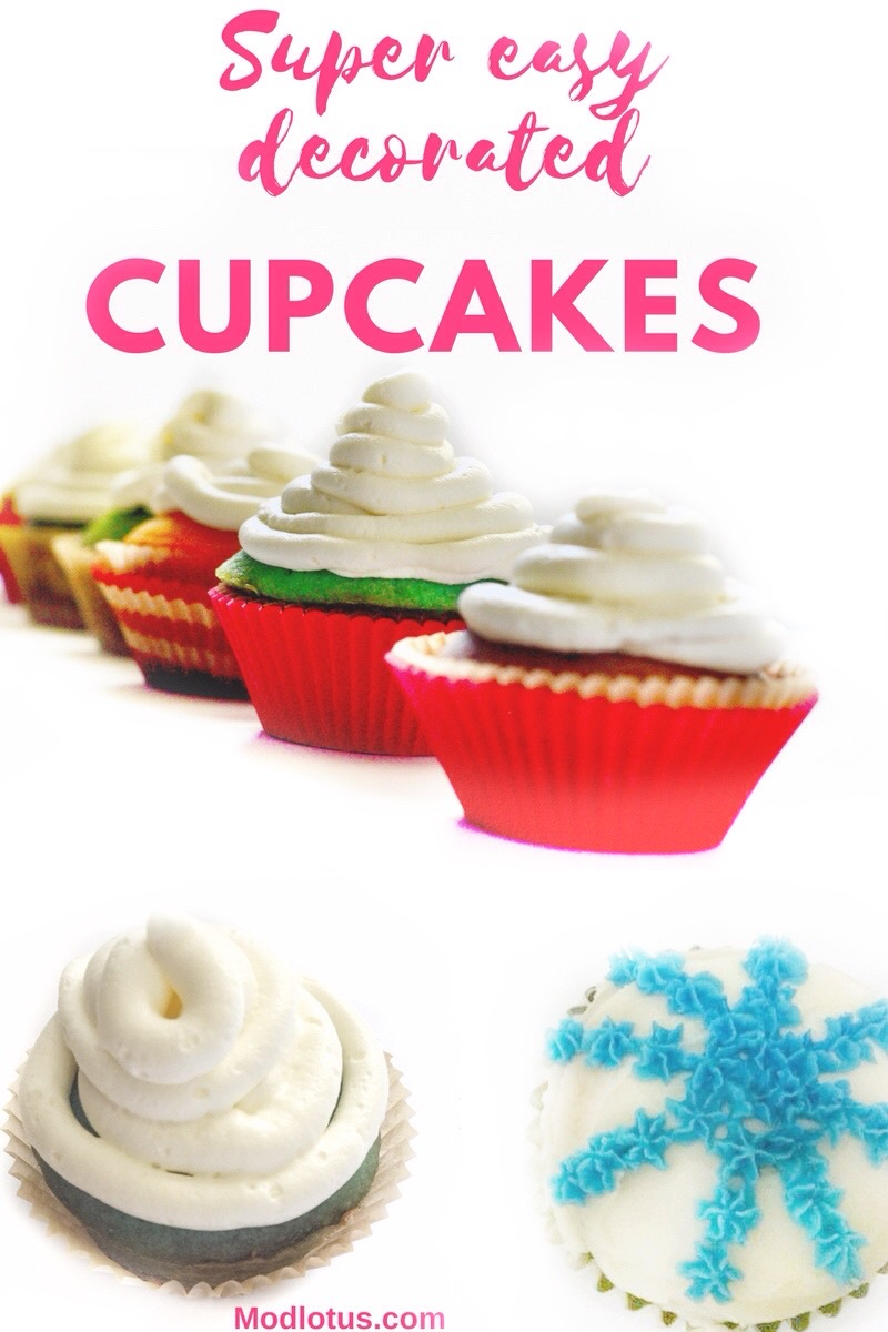 cupcakes decorated with simple to do methods