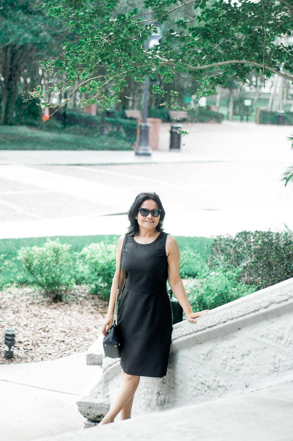 c93767027364 chic office wear j crew black dress with Furla top handle or Modalu